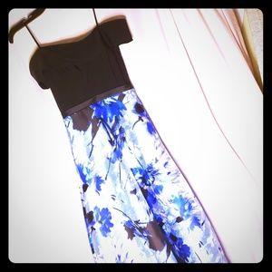 Off the Shoulder Black and Blue Prom Dress